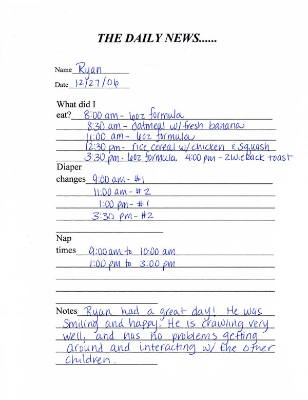 Toddler Daily Report Sheet
