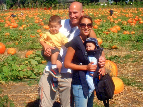 family photo at pumkin patch