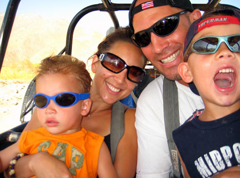 the family on a dune buggy ride in Palm Springs
