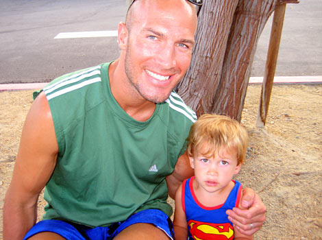 Eric and his son in Palm Springs on a hot day