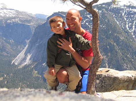Eric and son hiking in Yosemite National Park