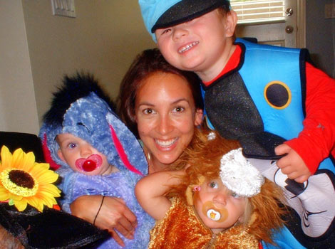 Jamie and the kids playing dress up