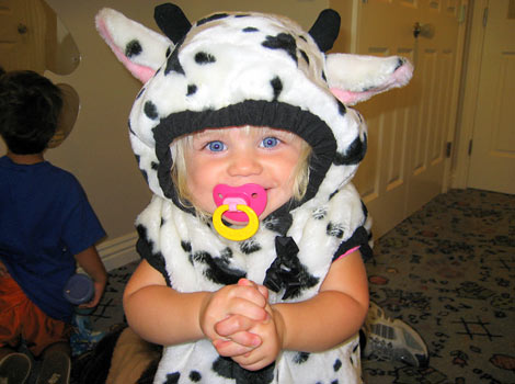 cute baby in cow costume
